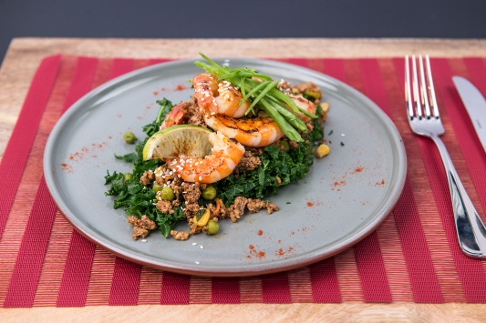 Super nutritious greens with prawn and turkey